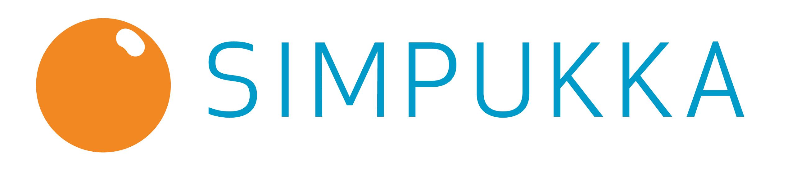 Simpukka logo, missä oranssi helmi ja teksti Simpukka