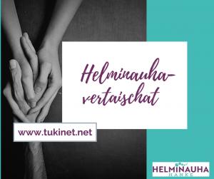 Kuvassa on teksti helminauha vertaischat, www.tukinet.fi ja kuvassa toisiaan pitelevät kädet