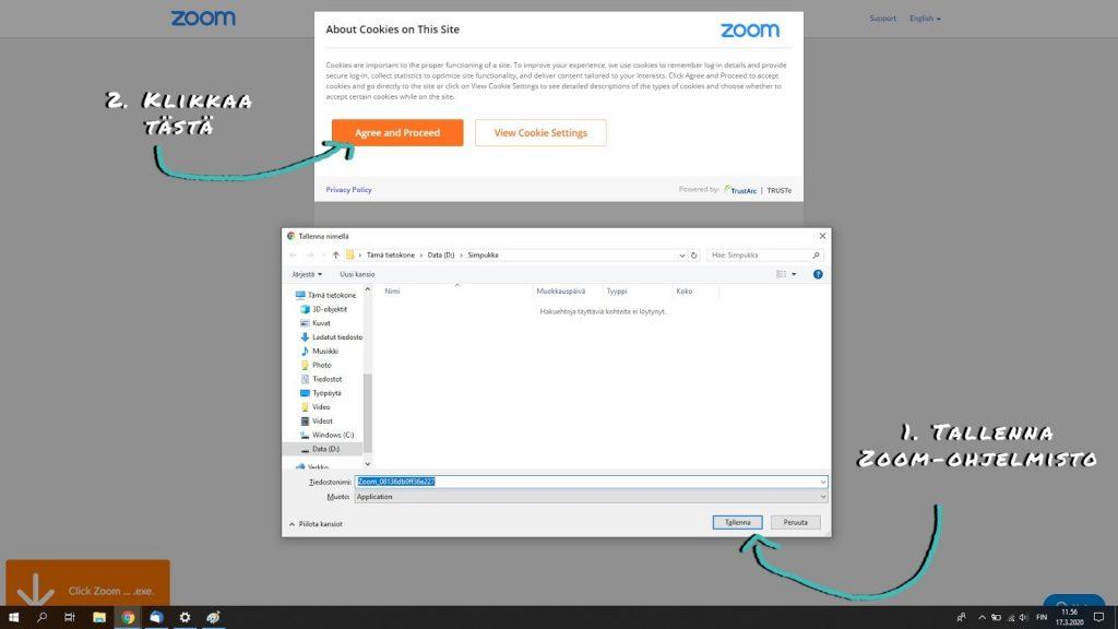 Kuvassa on ohjekuva Zoomin käytöstä.