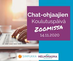 Kuvassa on teksti chat-ohjaajien koulutuspäivä Zoomissa 14.11.2020 ja näppäimistöllä olevat kädet. Alareunassa Simpukan ja Helminauha-hankkeen logot.