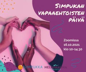 Kädet ovat yhdessä ja muodostavat sydämen, Simpukan ja Helminauha-hankkeen logot. Teksti: Simpukan vapaaehtoisten päivä Zoomissa 16.10.klo 10-14.30